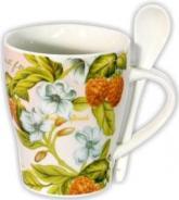 """купить: Чашка и посуда Чашка с ложечкой """"Голубые цветы и ягоды"""""""