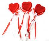 купить: Праздничное украшение Набор валентинок: 12  бархатных сердечек
