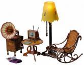 купить: Модель для сборки Торшер и обстановка. Коллекционный набор мебели. Сборная модель из картона