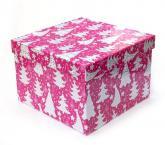 купить: Коробка Коробка для подарунків Ялинки, рожева 22х22х15 см