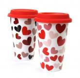 купить: Чашка и посуда Чашка для подорожі керамічна Серця, в асортименті