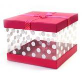 купить: Коробка Коробка напівпрозора в горошок, L