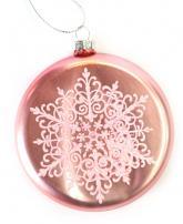 купить: Праздничное украшение Іграшка на ялинку пласка Сніжинка, рожева