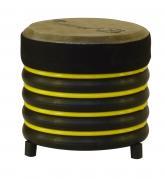 купити: Музичний інструмент Барабан жовтий із натуральної шкіри, 17х17 см